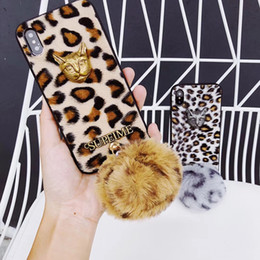 Iphone Plate Metal Case Australia - Plated 3D Metal Cat Head Leopard Skin Pattern Furry Back Cover Case with Fur Ball for iPhone XS Max XR 6s 7 8