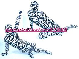 Wholesale halloween sexy outfit online – ideas Sexy Zebra Pattern Suit Outfit New Black White Lycra Spandex Zebra Pattern Suit Catsuit Costumes Unisex Bodysuit Halloween Cosplay Suit P178