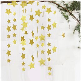 hanging star christmas decoration NZ - Wholesale 7cm glitter five-pointed star paper pull flower birthday party Christmas window decoration ornaments hanging ornaments pull flag