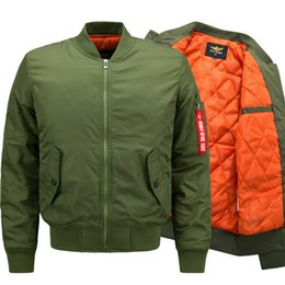 l style flights NZ - men thin Jacket Puffer Style Thick Army Green Military Flying Ma-1 Flight Jacket Pilot Ma1 Air Force Men Bomber Jacket Autumn winter