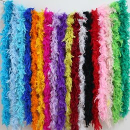 Discount dyed turkey feathers - 2 meters chicken Feather Strip Turkey Feather Boa for wedding birthday party wedding decorations clothing accessories
