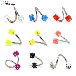 $enCountryForm.capitalKeyWord Australia - Alisouy 1pc Surgical Stainless Steel Spiral Acrylic Dice Lip Nose Ear Jewelry Fashion Body Piercing Jewelry Belly Lip Ear Ring
