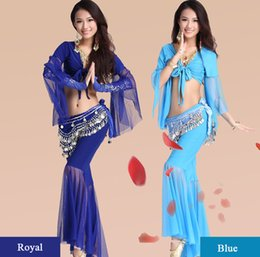 black women belly shirt Canada - Belly dance clothing set exercise suit new practice dancing exercise clothes set mesh yarn performance clothing shirt+pants+hip scarf