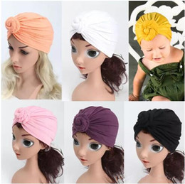 infant turbans 2019 - 12 Colors Kids Knot Turban Hats Children Simply Solid Head Wraps Infant India Hats Baby Winter Beanie B11 discount infan