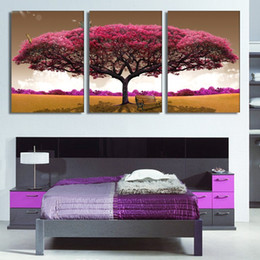 module three NZ - Oil painting living room decoration Canvas Picture Art HD Print Pink big tree purple jungle group Module painting