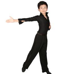 066ba08022 Professional Stand Collar Latin Dance Shirt Boys Adult Long Sleeve Black  Slim Dance Tops Leotard Wear For Boys