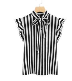 f909f0602 Blusa a rayas de verano Top Elegante Trabajo Blusas de mujer Gorro de manga  Negro y blanco Corbata de cuello de mariposa Ropa de trabajo