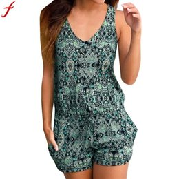 $enCountryForm.capitalKeyWord Australia - combinaison femme 2018 Womens holiday Summer Playsuit Sleeveless Print Romper Women Jumpsuit Clubwear Short overalls for women