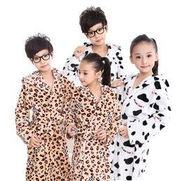 6d51d81c44 Children s Bathrobes Leopard Boys Girls Robe Hooded Flannel Pajamas 4-15T Kids  Soft Bath Robes Children Beach Towels Spa Towel