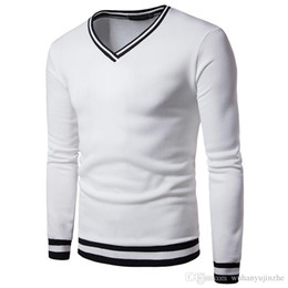 China Men Sweatshirts Long Sleeved V-neck Rib Cuff Shirt Sweatshirt Stitching Loose Students Patchwork Sweat Shirt 7 Colors to Choose DH184 cheap v neck sweat shirts suppliers