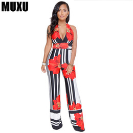 0a3d7cf4c25f MUXU v neck sexy women striped floral jumpsuit summer backless wide leg jumpsuit  europe and the united states jumpsuits rompers