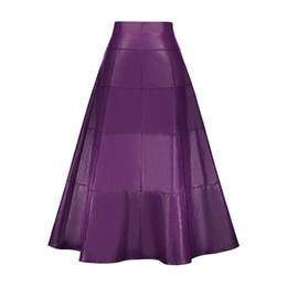 4b484d072b11 Vintacy Women Leather Skirt Autumn Winter Purple Plain High-Waist Ankle-Length  Female Long Skirts Fashion A-line Skirt Maxi