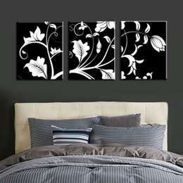 $enCountryForm.capitalKeyWord NZ - Unframed 3 Pcs Black White Flower Tree Modern Large HD Print Canvas Painting Art Picture For Living Room Home Wall Art Decor