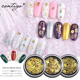 $enCountryForm.capitalKeyWord Australia - Contigo Nail Art Metal Patch For Nail Decoration Supplies Christmas Leaf Gear Golden Super Thin Mix DIY 3D Nails Accessories