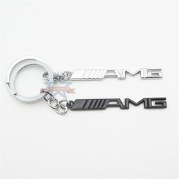 Keychain bucKle gold online shopping - Creative AMG English Letter Badge Car Key Ring Electroplate Cool Fashion Design Keys Buckle For Men Fun Keychain zy Z