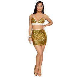 Cheap Sequin Clothes NZ - Gold 2018 Sexy Club Womens Dresses Sequins Two Pieces Set Fashion Sheath Column Dresses Sleeveless Plus Size Clothes Dresses Cheap