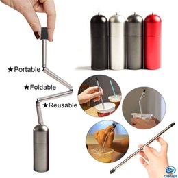 $enCountryForm.capitalKeyWord NZ - Collapsible Reusable Straws Foldable Stainless Steel Final Straw Outdoor Portable Water Bottle Cup Straws Black Gray Red Silver Colors