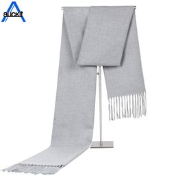 Solid Color Scarves Wholesale Australia - 2018 Autumn Winter New Solid Color Men's Scarf Cashmere Fringed Shawl Gift Warm Soft Fringe Wraps Unisex Scarves CA-111