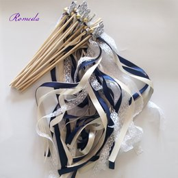 $enCountryForm.capitalKeyWord NZ - 50pcs of Stye D Navy Wedding Ribbon Wands, Cream Wedding Confetti Twiring Stream Ribbon Sticks Wands with Bells