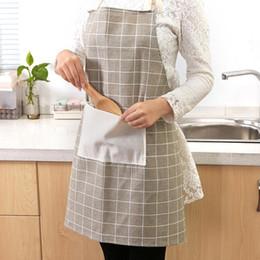 Cotton Cloth Apron Australia - 1pc Aprons Halter Fashion Pocket Plaids Unisex Cotton Cloth Apron Dress for Cooking Kitchen Restaurant