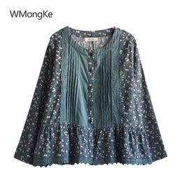 Mori Girls Autumn Spring Japanese Style Fresh Long Flare Sleeve Stand Collar Bow Plaid Blouse Shirt Roupa Feminina Blusa Women's Clothing