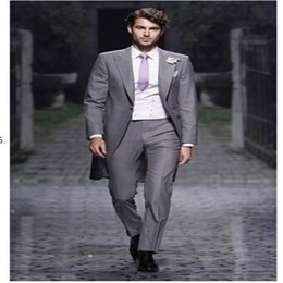 $enCountryForm.capitalKeyWord Australia - Custom New Design Slim Fit Mens Suits Italian GREY Jacket With Pants Wedding Suits For Men Tuxedos Groom Suit(Jacket+vest+Pants