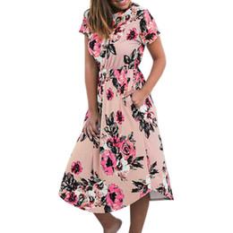 68fe849f539 Black chiffon tunic dress online shopping - Bohemian Floral Print Pleated  Mid Calf Women Dress Flower