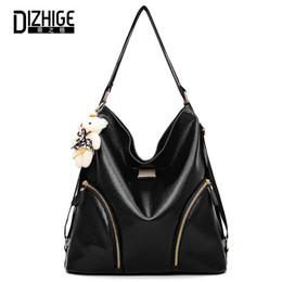 Bear Tote Bags Canada - DIZHIGE Brand PU Leather Women Shoulder Bag Black Handbag Large Capacity Casual Tote Bags Designer Zipper Bear Multi-purpose Bag