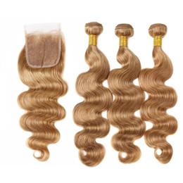 $enCountryForm.capitalKeyWord Australia - Virgin Peruvian Honey Blonde Human Hair Bundles with Closures Body Wave Wavy #27 Strawberry Blonde Human Hair Weaves 3 Bundle Deals For Sale