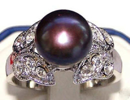$enCountryForm.capitalKeyWord NZ - 9mm Noblest Natural Black Akoya Cultured Pearl Butterfly Ring Size:7 8 9