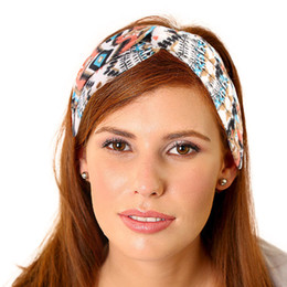c748936defe Yoga Print Twist Elastic Cotton Turban Headbands for Women Head Wrap Hair  Band Non Slip Wide Hairband Headwear Hair Accessories