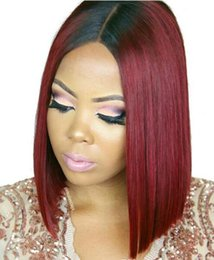 China Ombre Human Hair Lace Front Wigs T1b 99j Two Tone Full Lace Wigs With Baby Hair Peruvian Virgin Hair Straight Dark Root Burgundy cheap dark roots burgundy hair suppliers