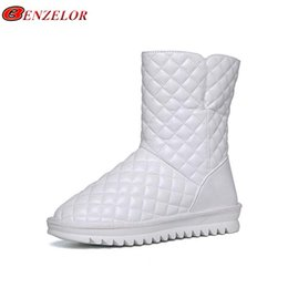lady snow boots mid calf Australia - wholesale 2018 Winter Waterproof Fashion Snow Boots Women Shoes Mid-calf Warm Plush Femme Ladies Boot Booties White Black 998