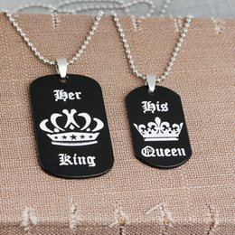 queens crown pendant Australia - 2018 new arrival her King his queen couple Crown necklace Crown letter key chain
