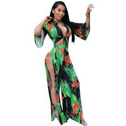 b3ba45d6201 2018 New Women Fashion Leave Printing Casual 2pcs Set Deep V-Neck Full  Length Jumpsuit Overall For Women Print Jumpsuit Nightclub Wear
