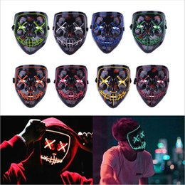 Wholesale Halloween Christmas Party Mask Modes Voice Sound control Mask Cosplay Led Costume Mask Face Covered EL Wire Light Up for Festival Party