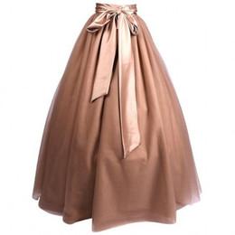 bbfcb6b8ee4 Discount black tulle maxi skirt - Modest Full Tulle Skirts Women Ribbon  Waistline A Line Floor