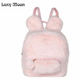 Discount girls bunny backpacks - Cute Bunny Ears Backpack Rabbit Fur Double Shoulder Bag Masculina School Bags For Teenager Girls Children Backpacks