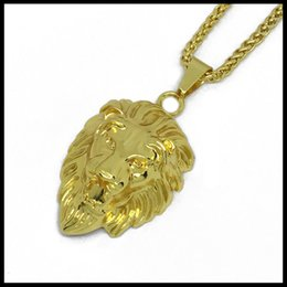 Wholesale Gold Color Lion Head Charm Necklace New Style Animal Jewelry Pendant Necklace Fashion Punk Biker Jewelry for Man