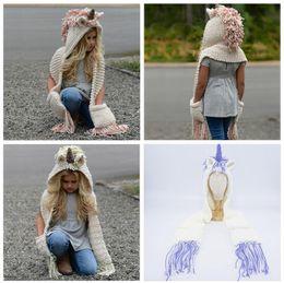 Knit infant hats online shopping - AMUSE in unicorn scarf cap Kids Infant Llama Warm Knitted Hats Children cartoon warmer Winter crochet Hat AAA1013