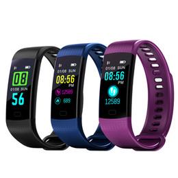 Waterproof Electronics Canada - Y5 Smart Wristband Electronics Bracelet Color LCD Watch Activity APP Fitness Tracker Blood Pressure Heart Rate IP67 Waterproof