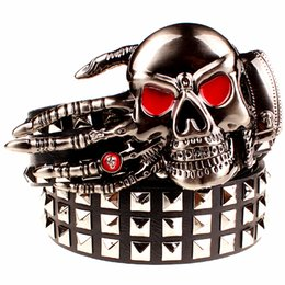 metal skull belt buckle UK - 2017 Fashion men's rivet belt Punk rock belt skull head ghost claw heavy metal wide belts hip hop big rivet belt women Gift