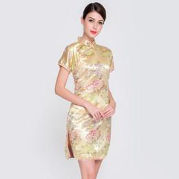 acbd29b3e Las mujeres chinas corto Qipao Vintage Mandarin Collar floral Cheongsam  Lady Sexy vestido de fiesta de boda delgado elegante vestido chino