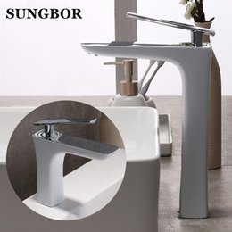 mixer brands NZ - White Painting Basin Faucet Bathroom Single Handle Tap Brand New Washbasin Hot Cold Mixer,Deck Mounted,Free Shipping AL-7801B