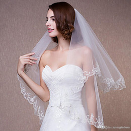 White Elbow Length Veils Australia - New Cheap In Stock Elbow Length 2 Layers Bridal Veil With Lace Applique Tulle Wedding Veils Ivory White for Wedding Events Online