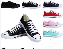 Discount new star shoes - NEW size35-45 New Unisex Low-Top & High-Top Adult Women's Men's star Canvas Shoes 13 colors Laced Up Casual Sh