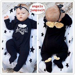 Wholesale INS Baby angel print Rompers Infant Boy Girl D Wing Long sleeve jumpsuit Newborn Spring Autumn bodysuit for M