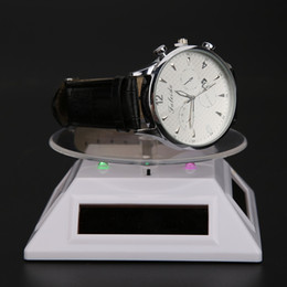 Rings Showcase Australia - 100*100*40mm Solar Automatic Rotating Stand Ring Bracelet Jewelry Display Rack Holder ABS Acrylic Watch Showcase 2018 Wholesale
