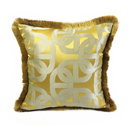 Chinese  Contemporary Yellow Geometric Interior Decorative Pillow Case Square Floor Sofa Chair Home Living Room Jacquard Woven Cushion Cover 45x45cm manufacturers