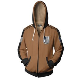 Chinese  Attack on Titan Hoodies Sweatshirts Coat Japan Anime Halloween Party Eren Levi Hoodies Cosplay Costume Legion Clothing manufacturers